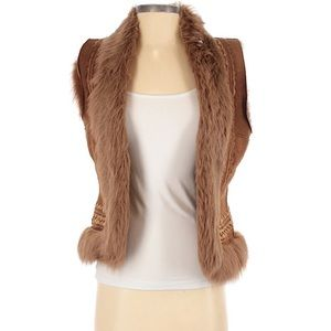MaxMara Leather Vest Fur Embroidered Small Boho